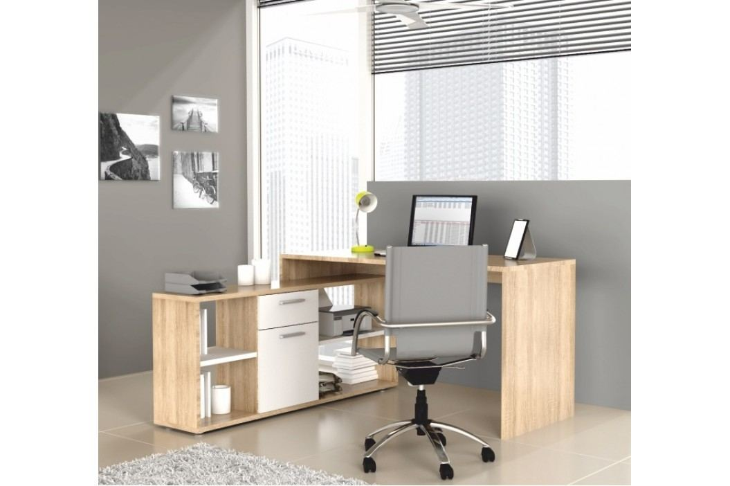 Rohový PC stolek - Noe MT959 dub sonoma + bílá