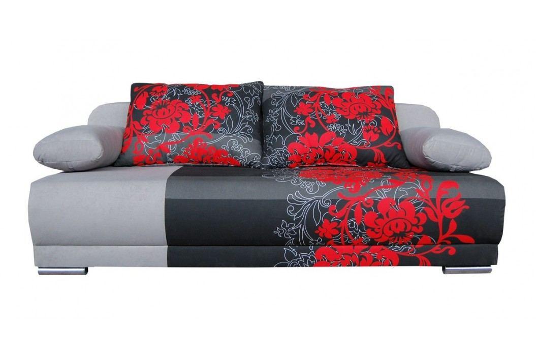 Pohovka - WIP-GK - Zico šedá + červené květy