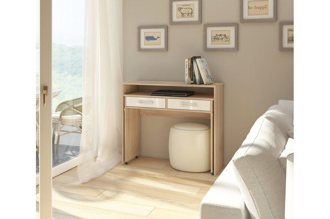 PC stolek - WIP - Zoom dub sonoma světlý + lesk bílý
