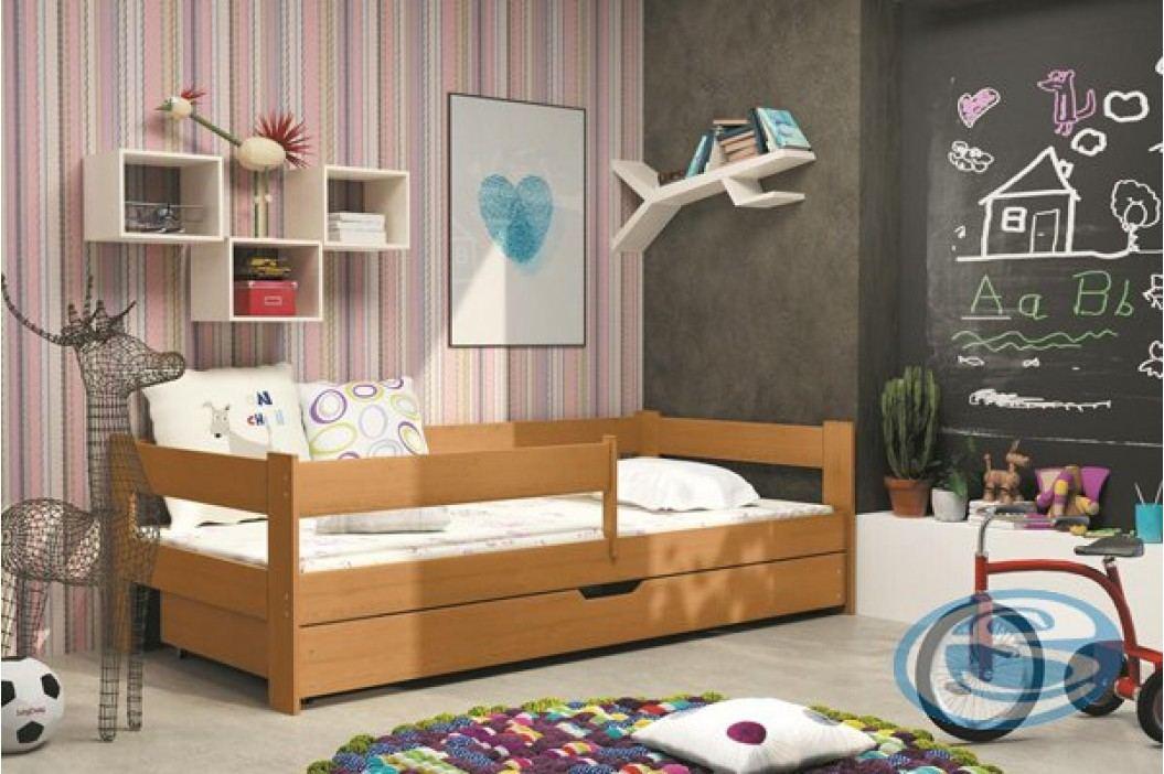 Dětská dřevěná postel s ohrádkou Hugo olše 160x80 - BMS