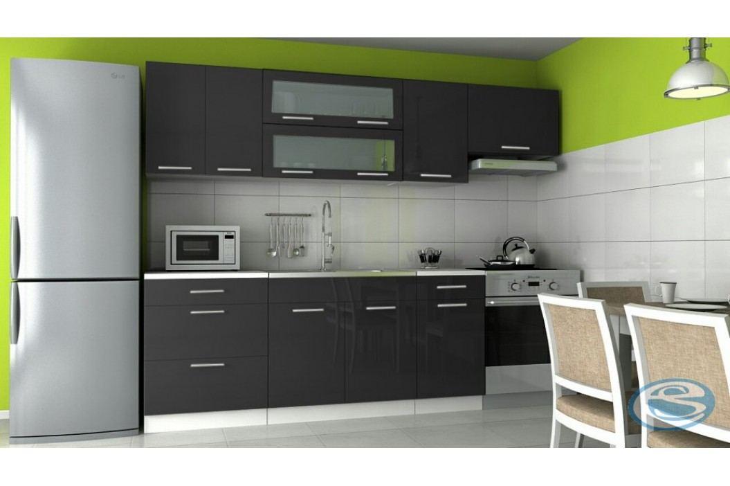 Kuchyňská linka Emilia 180/240 černá vysoký lesk