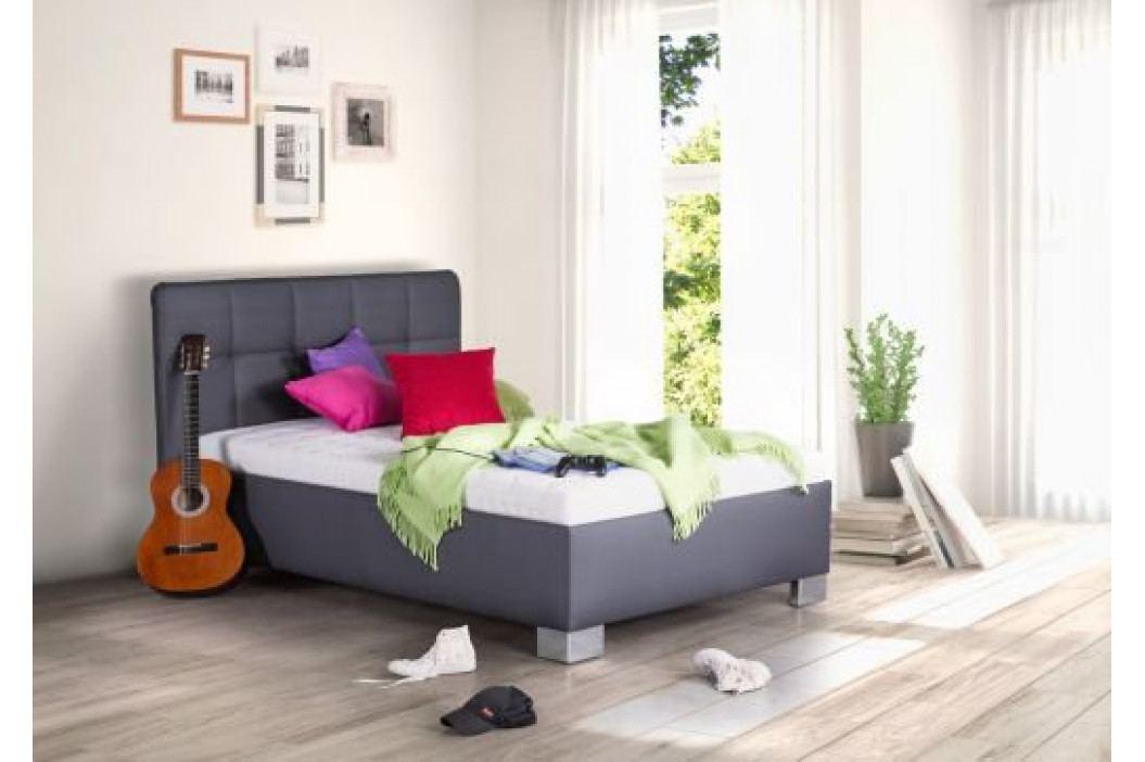 Čalouněná postel Kelly 140x200 šedá koženka - BLANAŘ obrázek inspirace