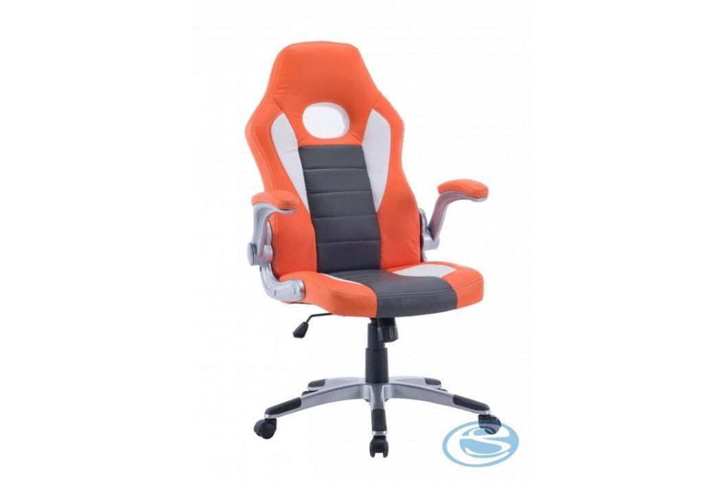 Kancelářské křeslo Lotus oranžovo-šedo-bílá - HALMAR