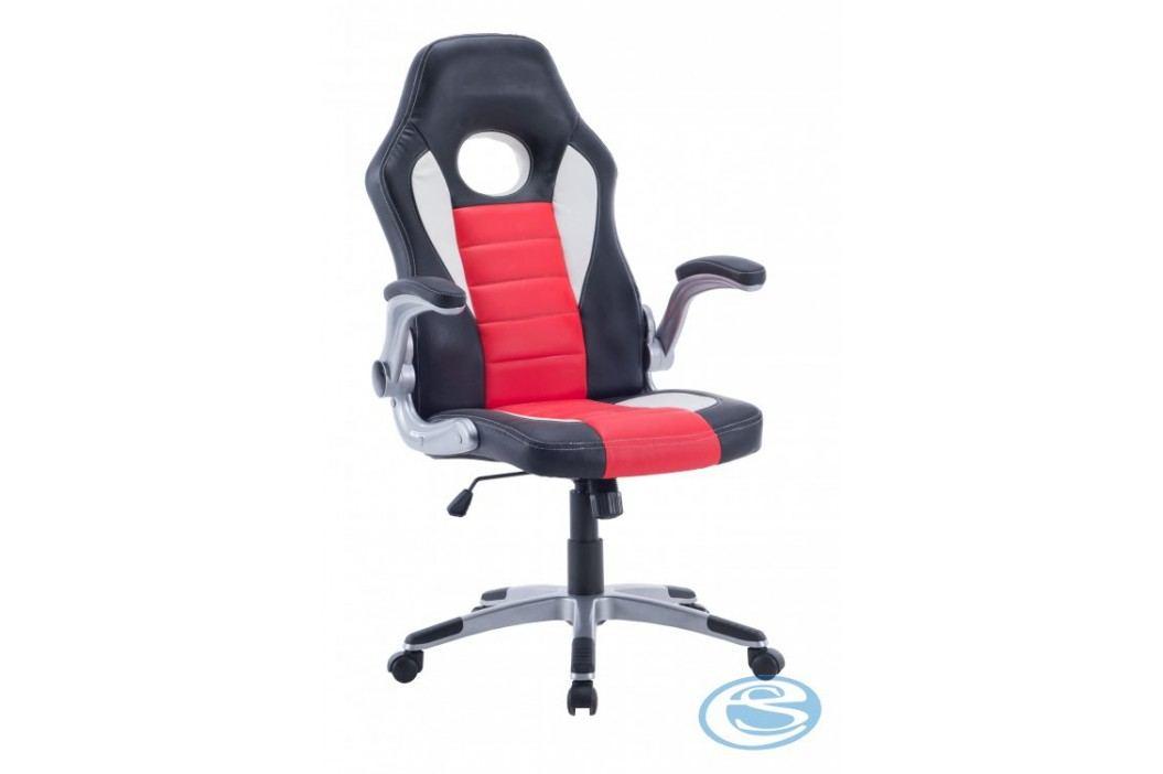 Kancelářské křeslo Lotus černo-červeno-bílá - HALMAR