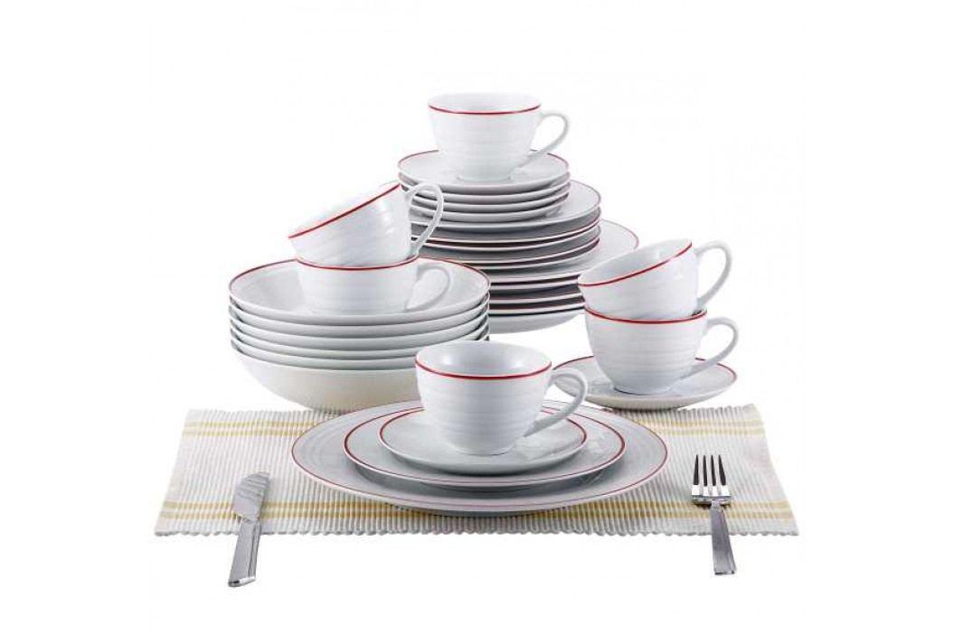 30 dielna obedová sada, biela/červená, BL-2039-3