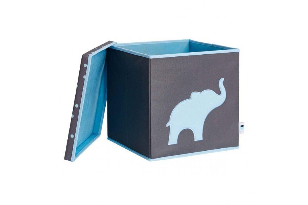 LOVE IT STORE IT - Úložný box na hračky s krytem - šedý, modrý slon