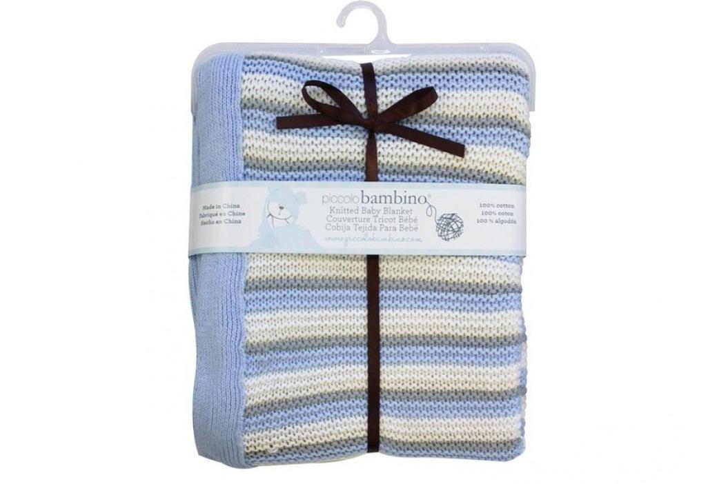 PICCOLO BAMBINO - Pletená deka 76 x 91 cm pruhovaná - modrá obrázek inspirace