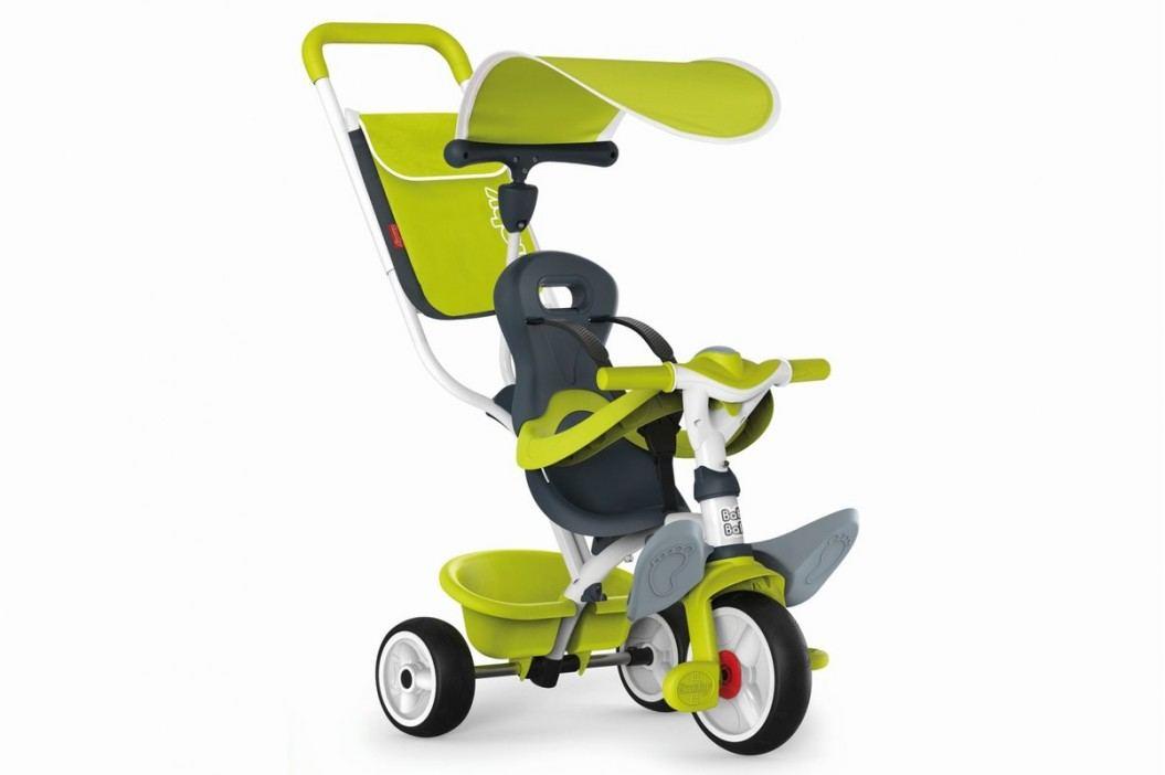 SMOBY - Tříkolka Baby Balade 2 zelená, stříška, taška