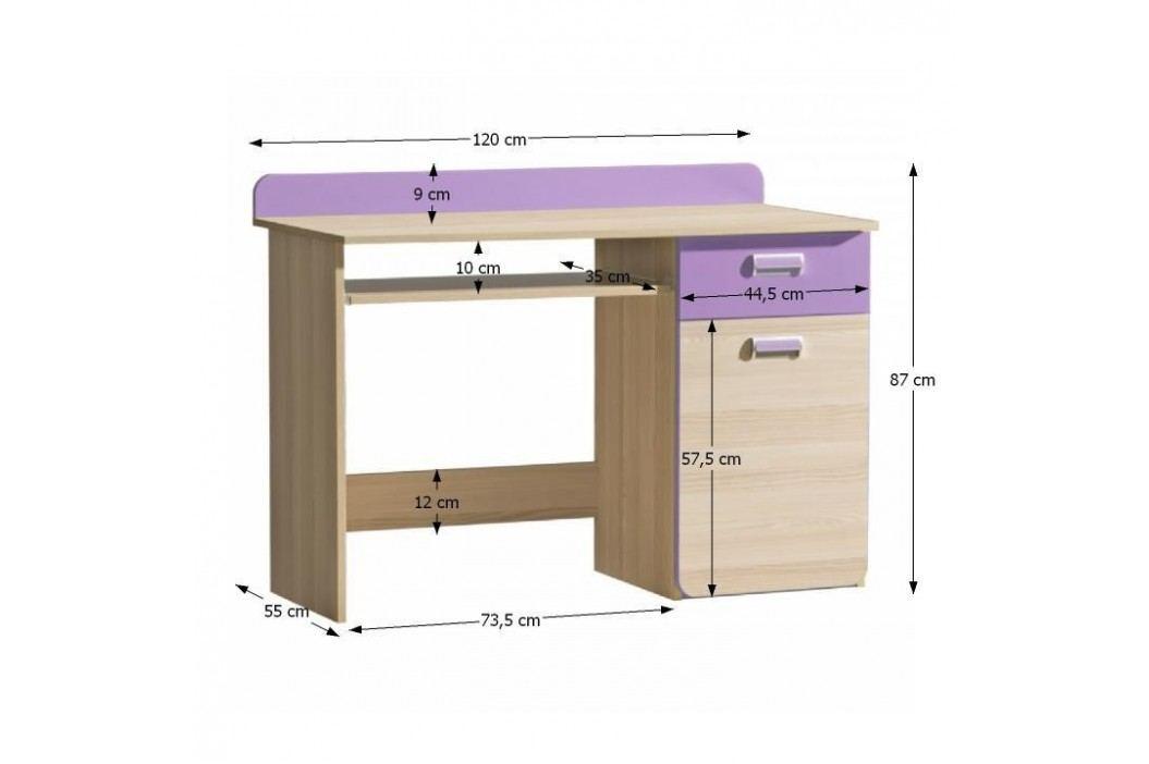 PC stůl EGO L10, jasan/fialový