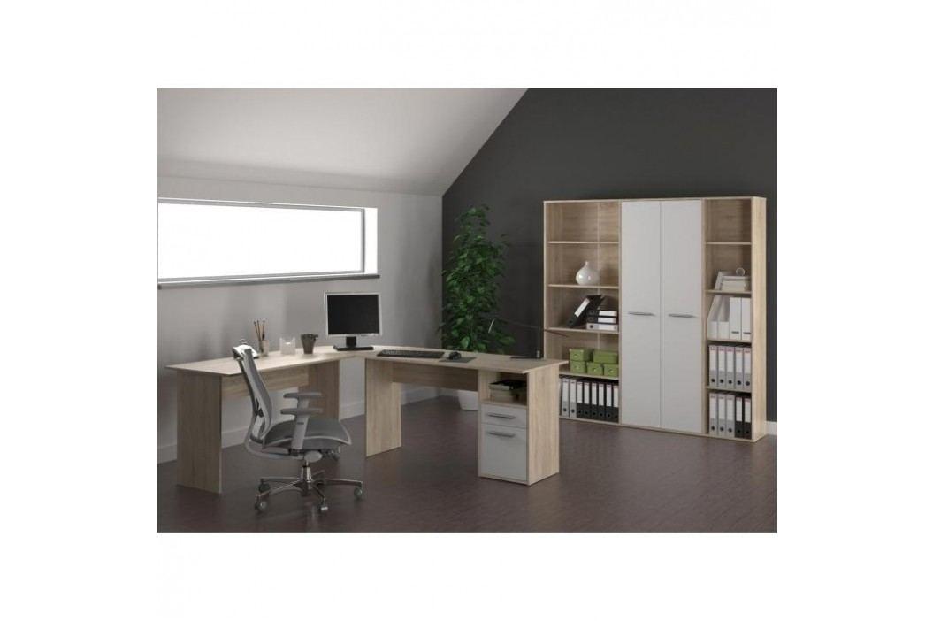 PC stůl - rohový, dub sonoma/bílá, MAURUS MA11