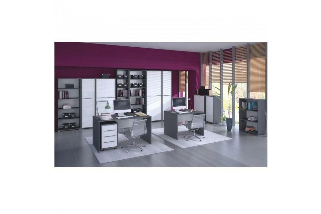 PC stůl, grafit / bílá, Rioma TYP 12