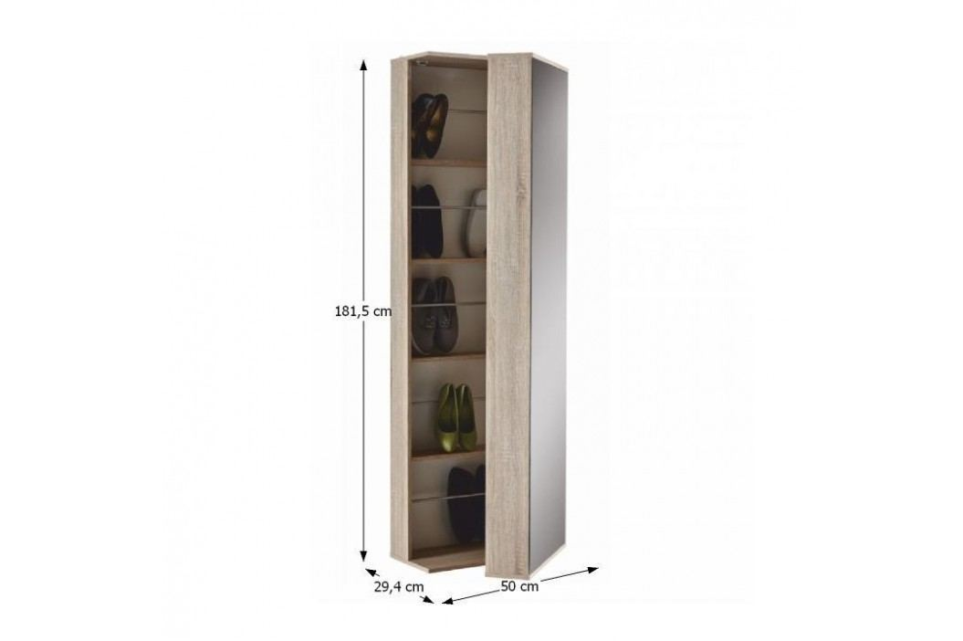 Botníková skříň BALERINO 251811, dub sonoma + zrcadlo
