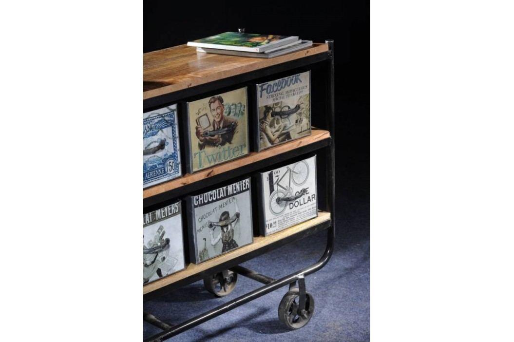 COLLAGE Servírovací stolek #03, litina, staré dřevo