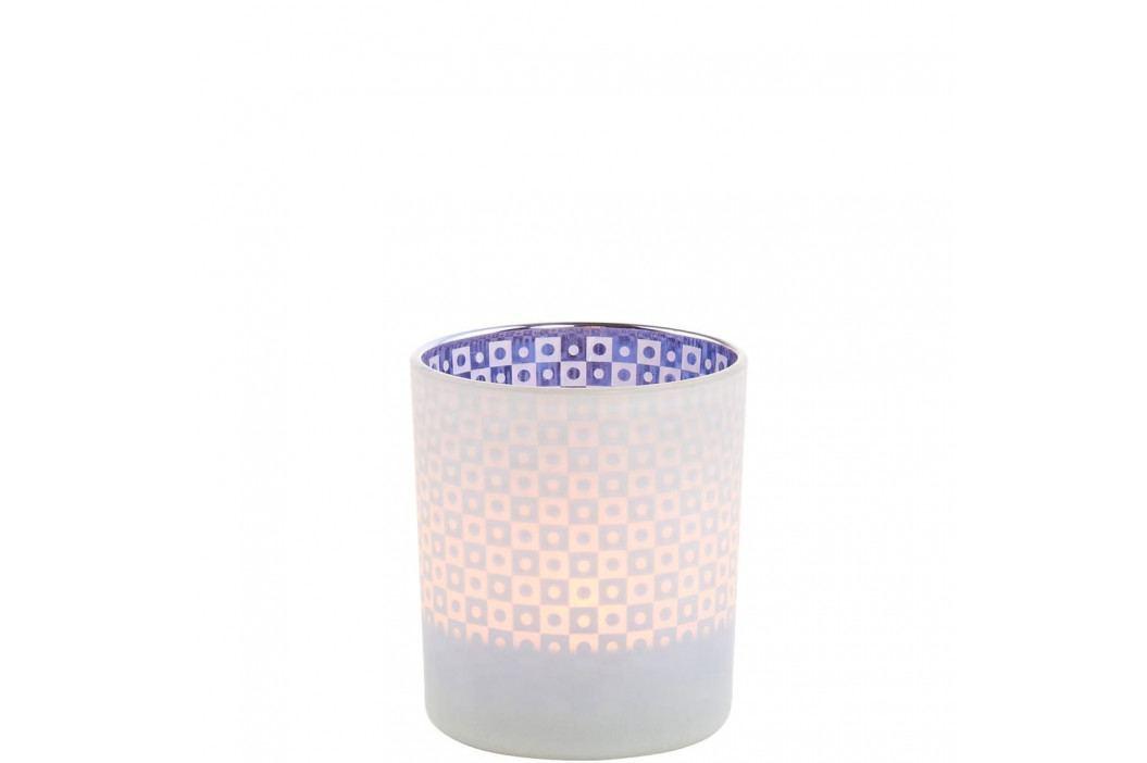 DELIGHT Svícen 8 cm - modrá/bílá