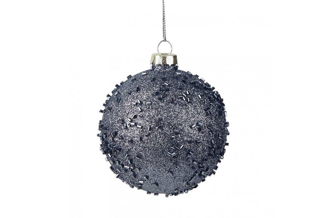 HANG ON Ozdoba koule se třpytkami 8 cm - modrá