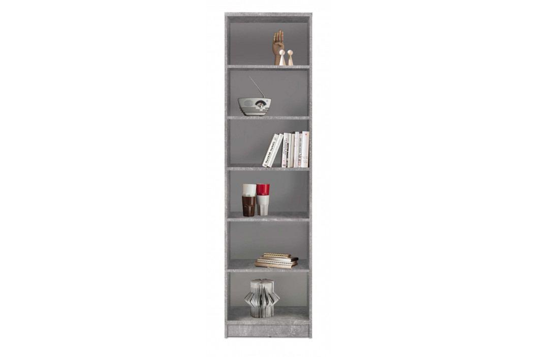 Sconto Regál/knihovna OPTIMUS 35-015 beton/bílá