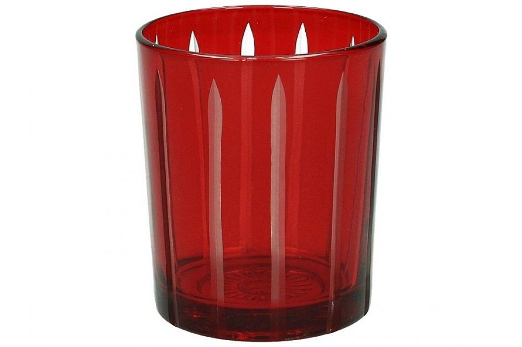 KERSTEN - Svícen 8,5x8,5x9,5cm, sklo, červený - (LEV-8847)