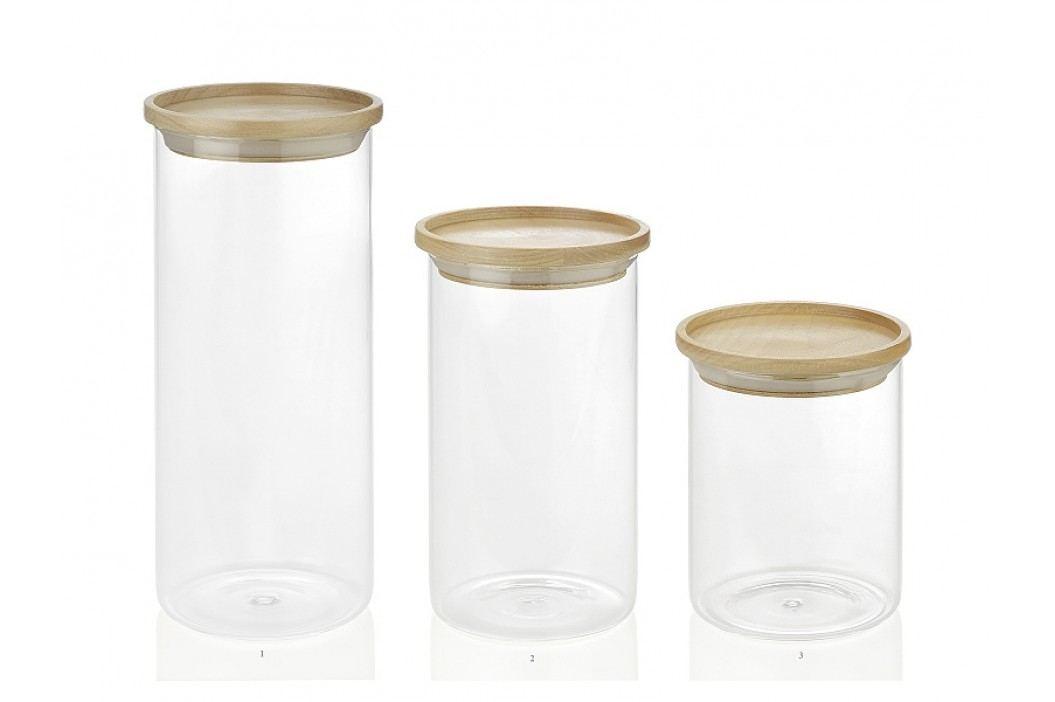Dóza skleněná s dřevěným uzávěrem O9,5x v.12,5cm - (CC16203)