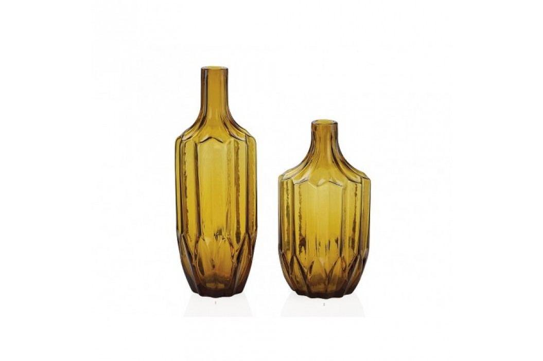 Skleněná váza, jantarová 12x12x23cm - (CR16140)