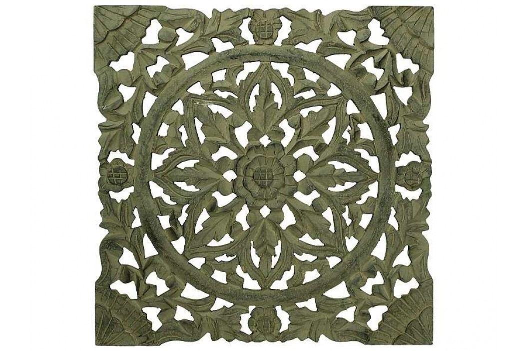 KERSTEN - Nástěnná dekorace, ruční práce, hnědá patina 38x1,6x38cm - (LEV-4702)
