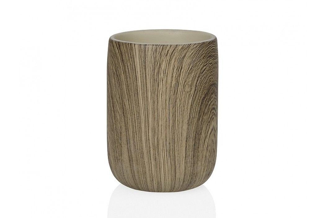 Zásobník na kartáčky,poly, efekt dřeva O7x10cm - (BA66143)