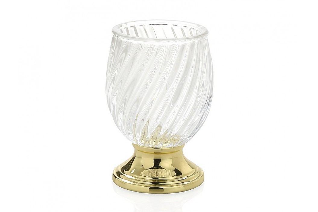 Zásobník na kartáčky, sklo/zlatý O 8,5x12,5cm - (BA16113)