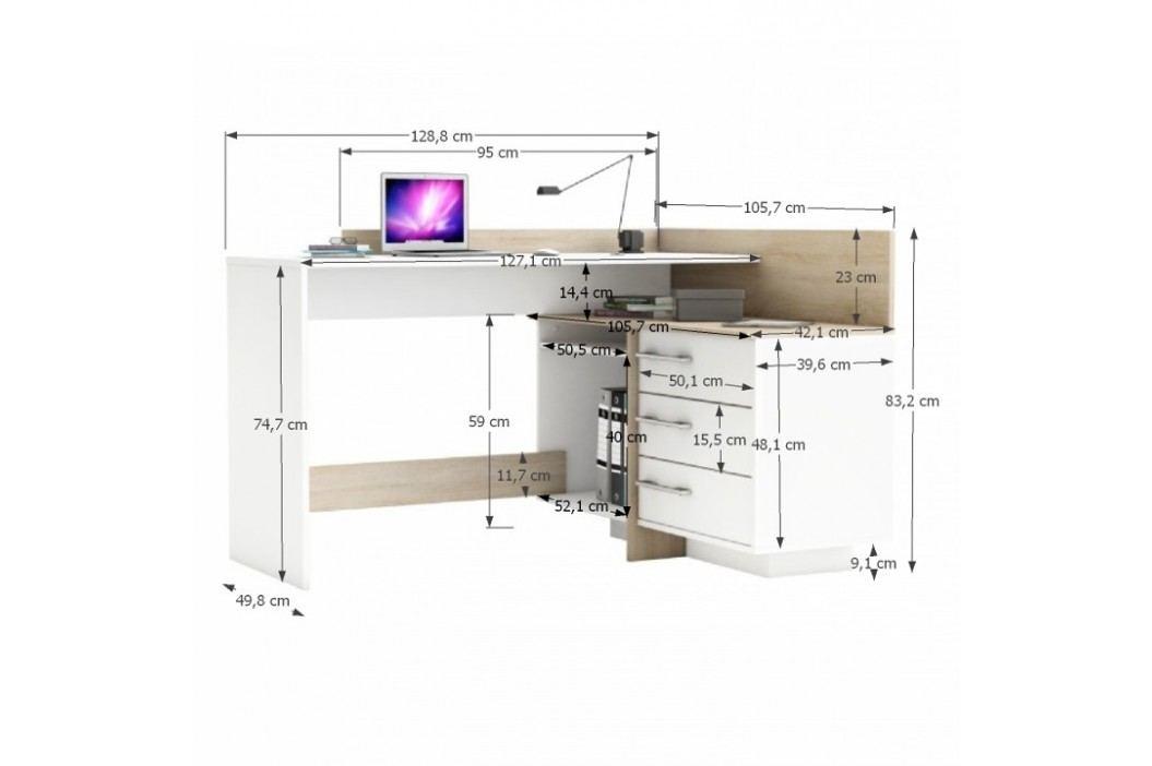 PC stůl, L/P, rohový, třízásuvkový, tmavý dub/bílá, TALE 484879