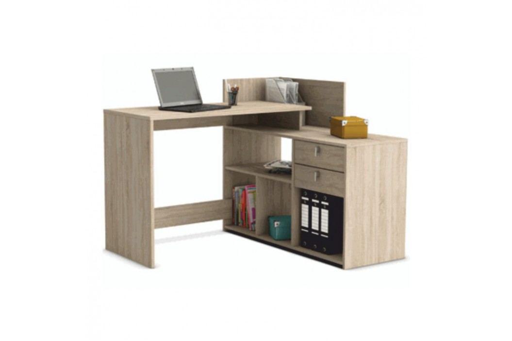 Rohový PC stůl, dub sonoma, VISTA PC STŮL