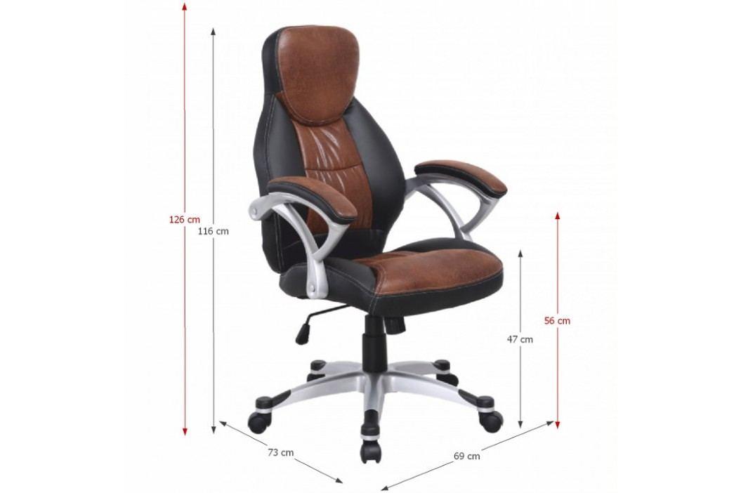 Kancelářská židle, ekokůže hnědá + černá / plast, ICARUS