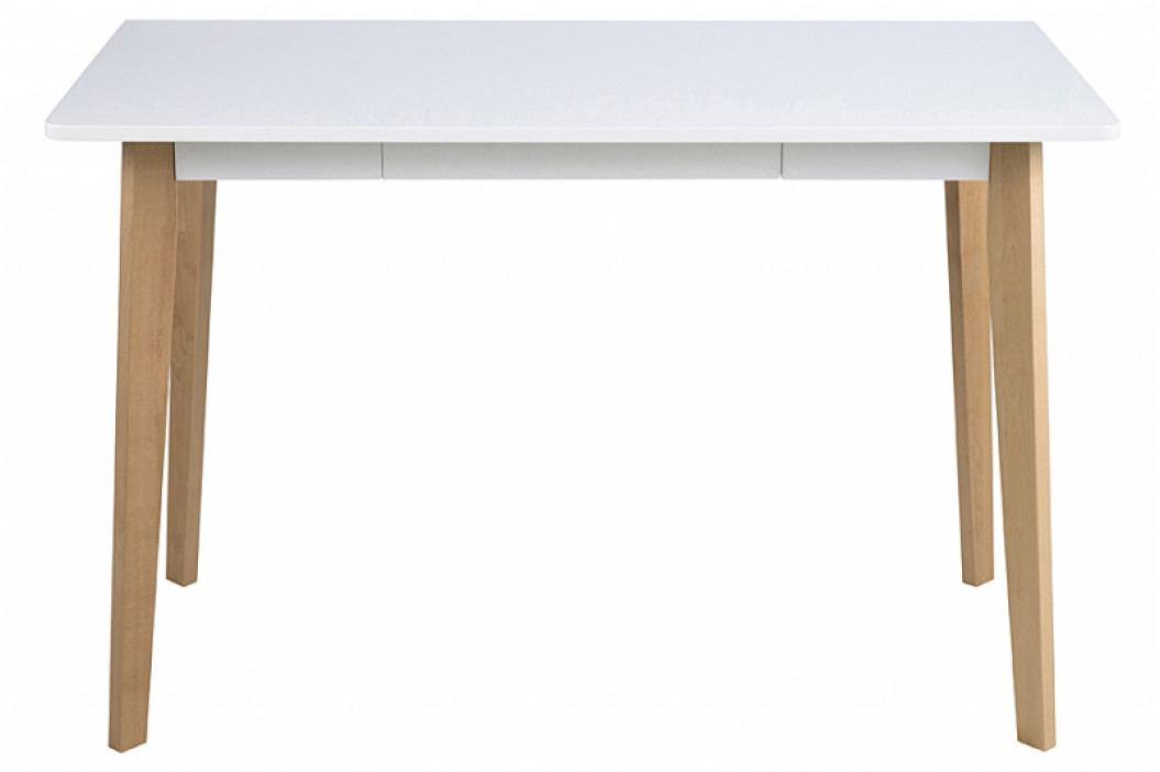 Pracovní stůl 117x58 cm v bílé matné barvě s podnoží v dekoru břízy se zásuvkou DO197
