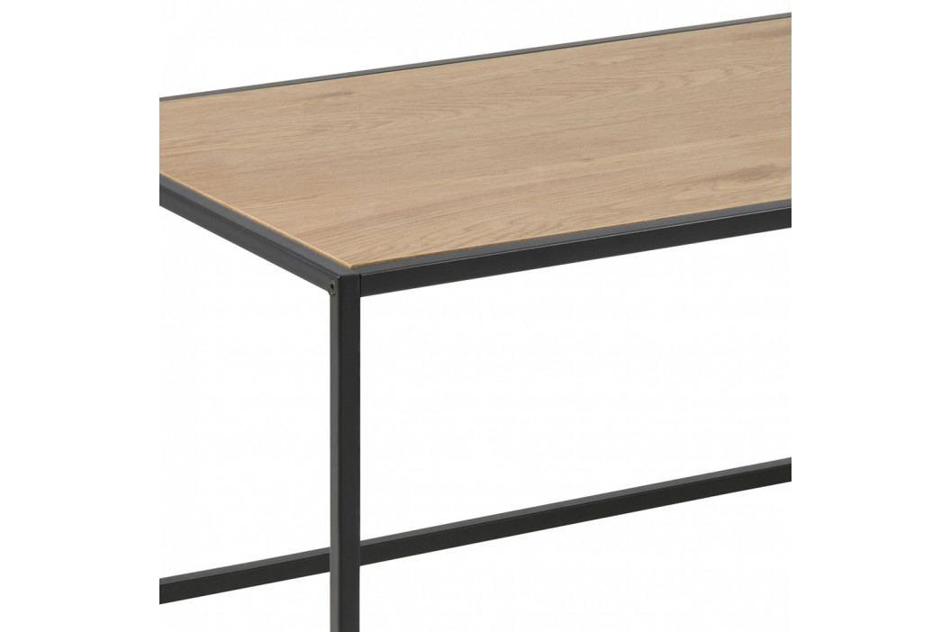 Konferenční stolek 100x50 v dekoru dub sonoma s černou kovovou konstrukcí DO103