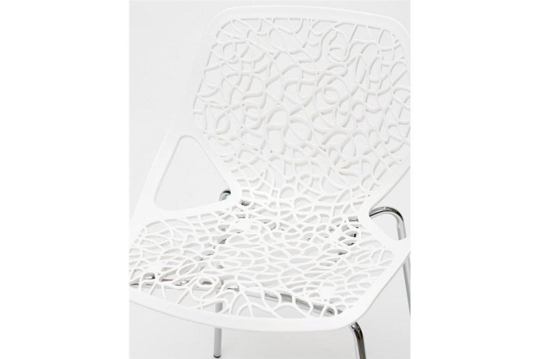 Jídelní židle s bílým plastovým sedákem s krajkovým motivem DO098