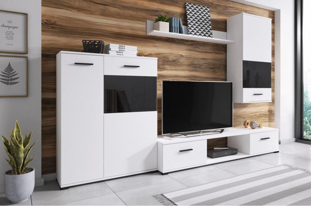 Obývací stěna v bílé barvě s kontrastními černými prvky KN1132