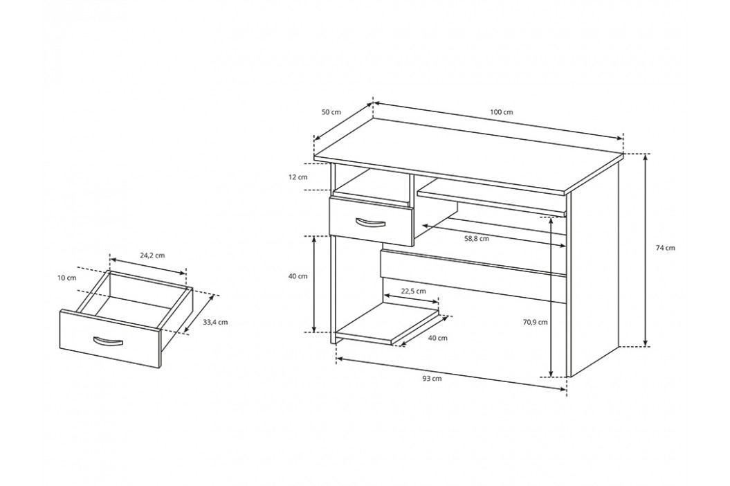 Pracovní stůl 100x50 cm s výsuvnou deskou v dekoru dub sonoma KN1117
