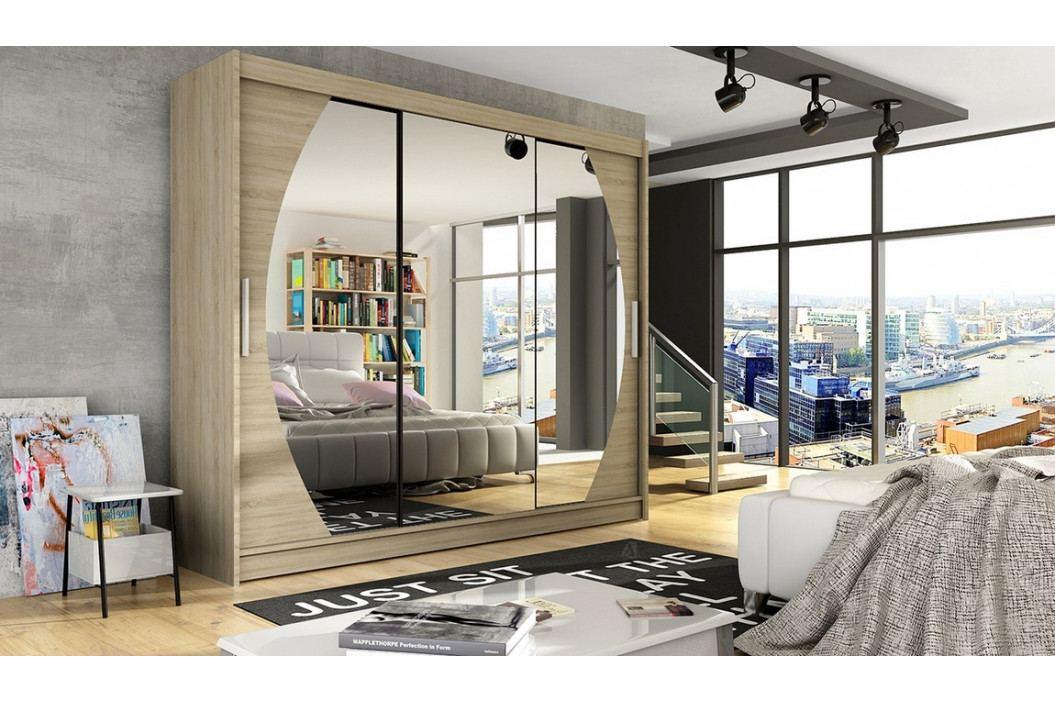 Šatní skříň 250 cm s posuvnými dveřmi se zrcadly v dekoru dub sonoma typ V KN1122