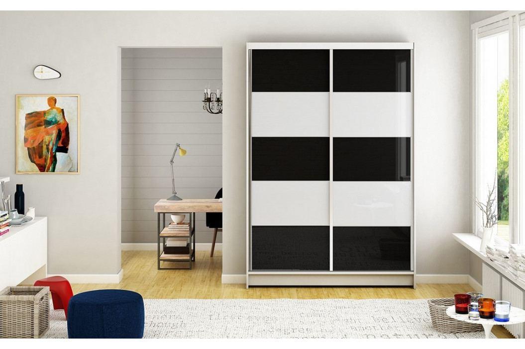 Šatní skříň 120 cm s posuvnými dveřmi s černými a bílými skly a bílým matným korpusem typ III KN1133 obrázek inspirace