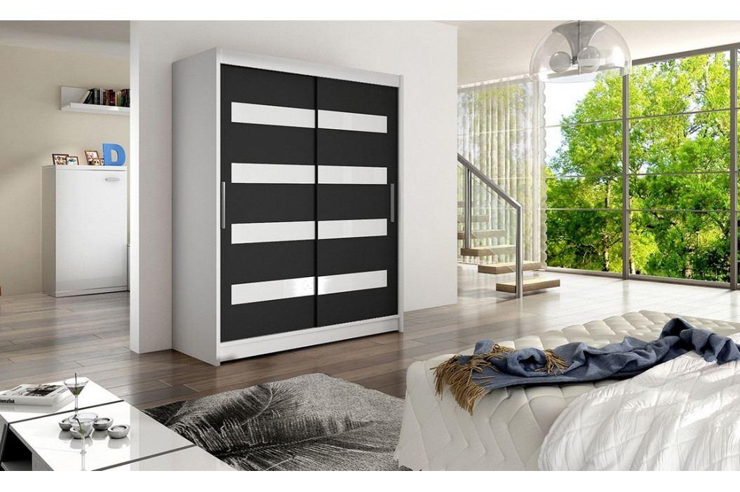 Šatní skříň 150 cm s posuvnými dveřmi v černé barvě s bílými skly a bílým korpusem typ IV KN117