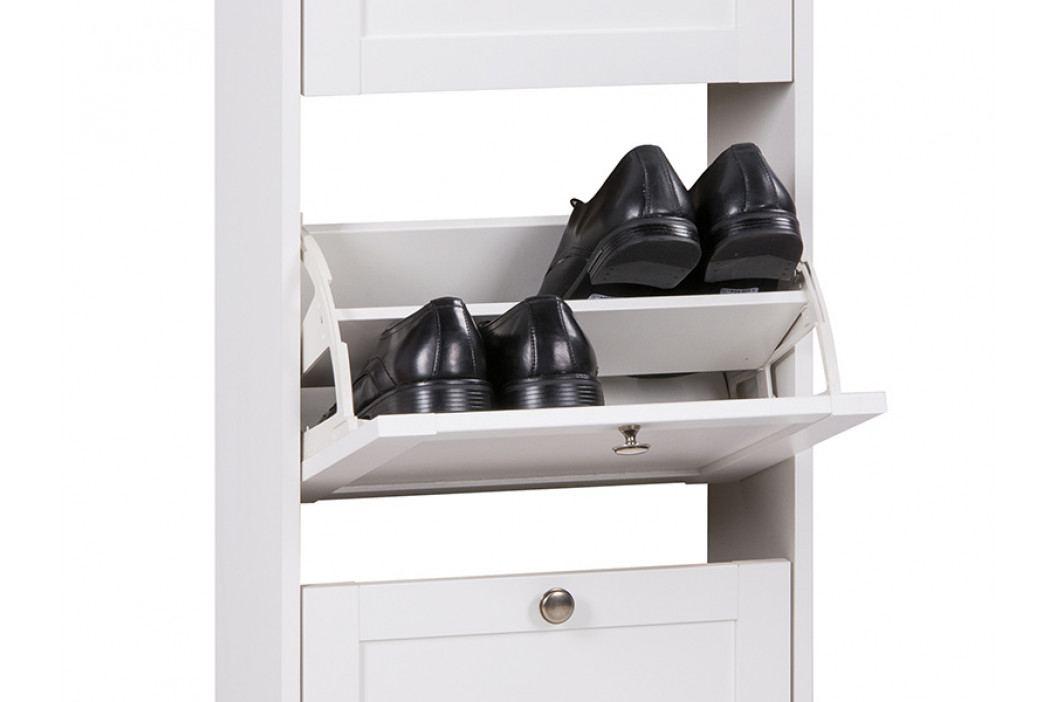 Výklopný botník s dvojitými zásuvkami v bílé barvě s kovovými úchyty DO244