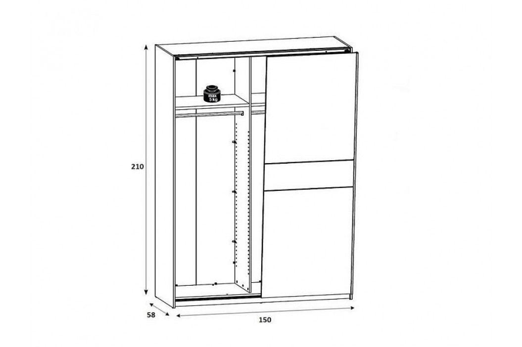 Šatní skříň v kombinaci modřín sibiu světlý/borovice larico SZF/153 W034