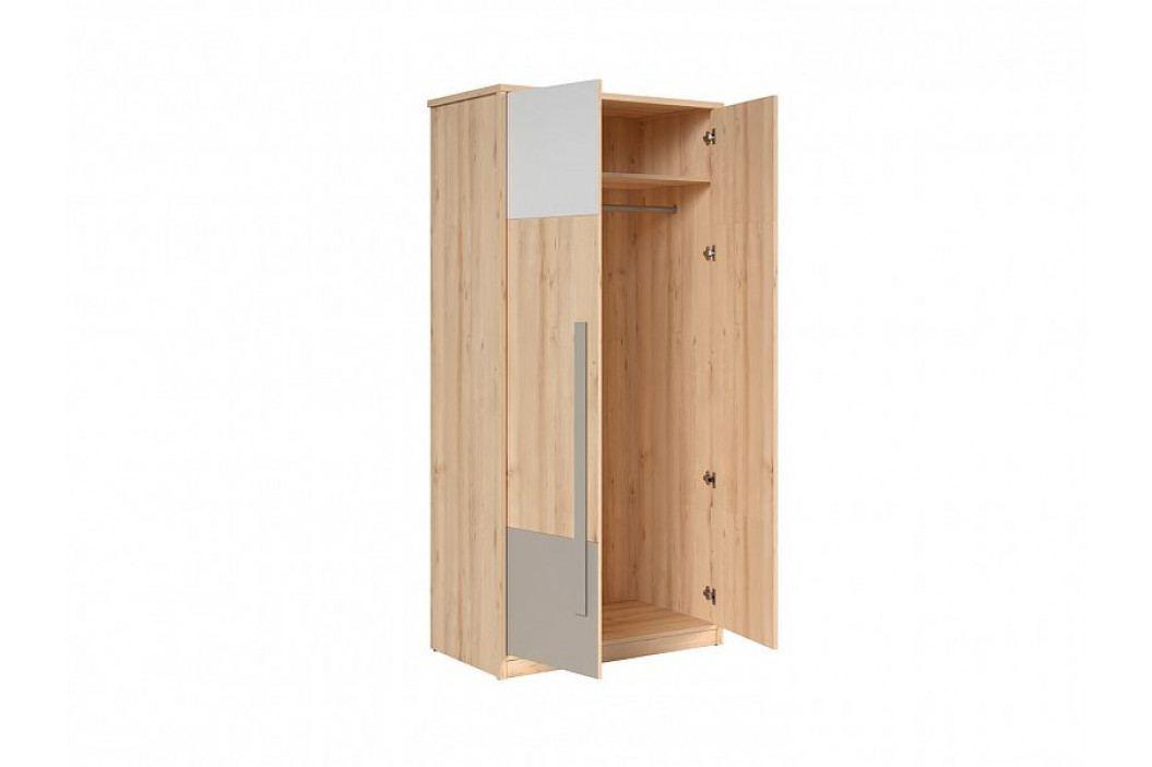 Šatní skříň v kombinaci buk iconic/bílý lesk/šedá SZF2D W036