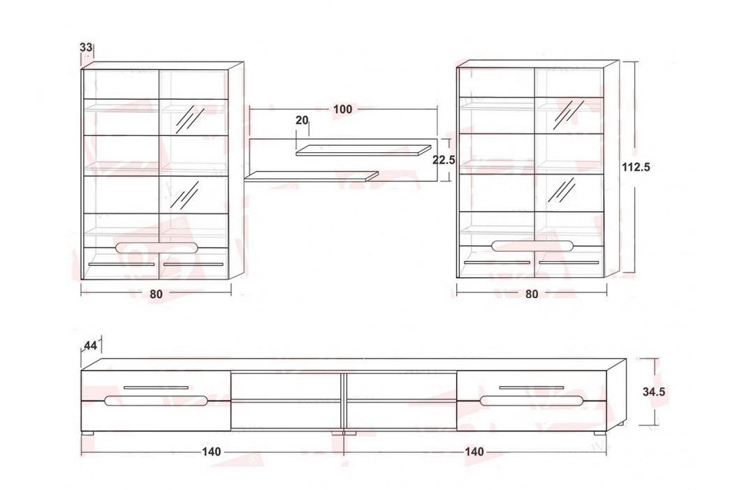 Obývací stěna v bílém lesku s prvky dekoru dub sonoma KN1212 obrázek inspirace