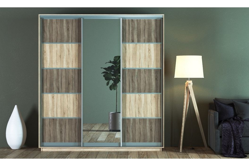 Šatní skříň 220 cm s posuvnými dveřmi se zrcadlem v dekoru dub sonoma a lanýž KN1242 obrázek inspirace