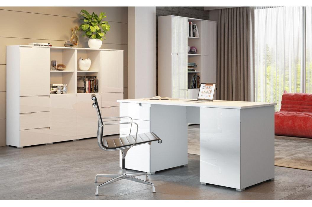Pracovní stůl 158x67 cm s úložným prostorem v bílém lesku typ 15 KN1243