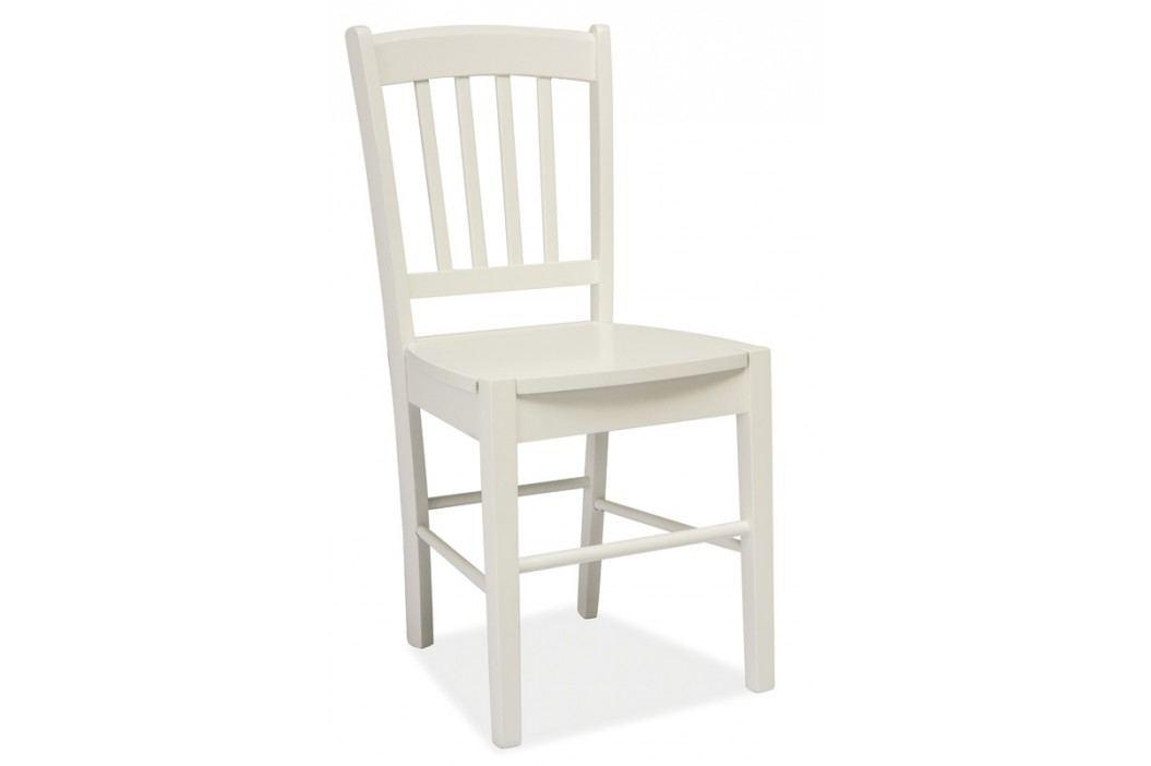 Dřevěná jídelní židle v klasickém stylu v bílé barvě KN270