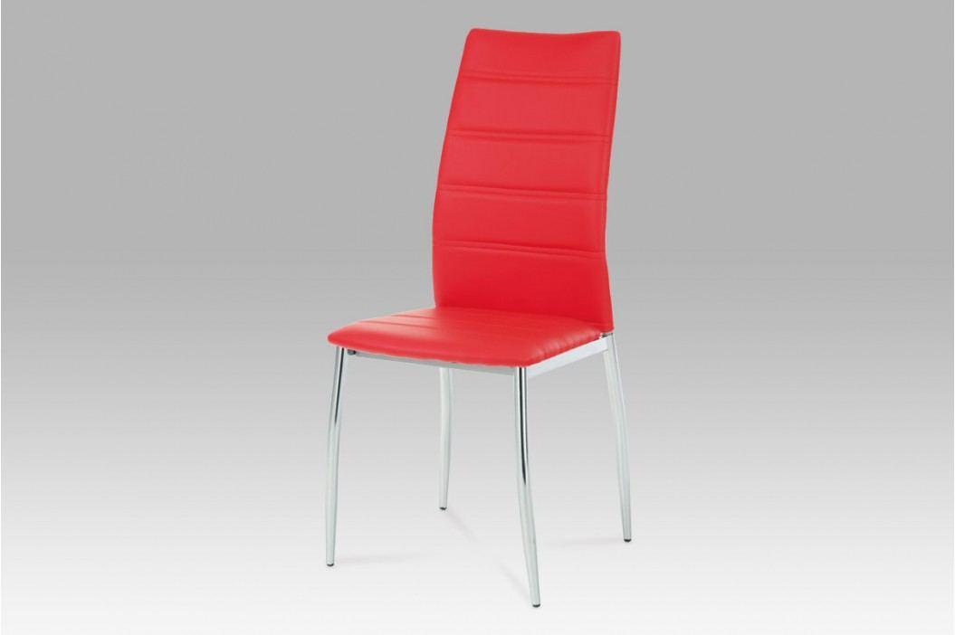 Jídelní židle, chrom/koženka červená AC-1295 RED AKCE