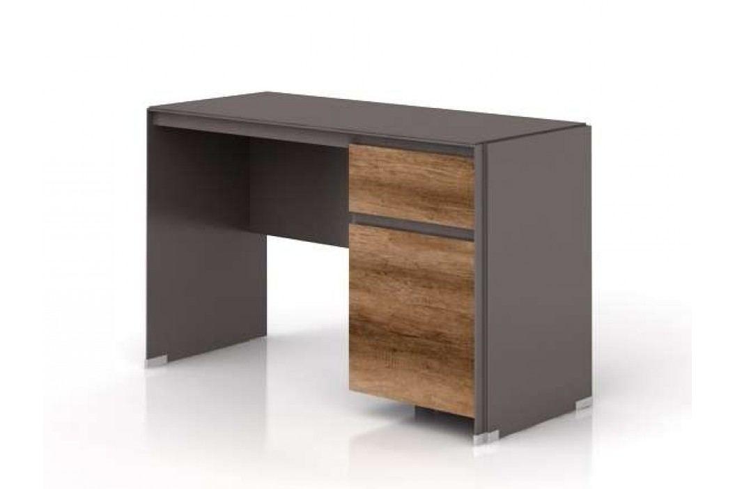 Psací stůl FINI BIU1D1S 7/12 šedý volfram/dub monument