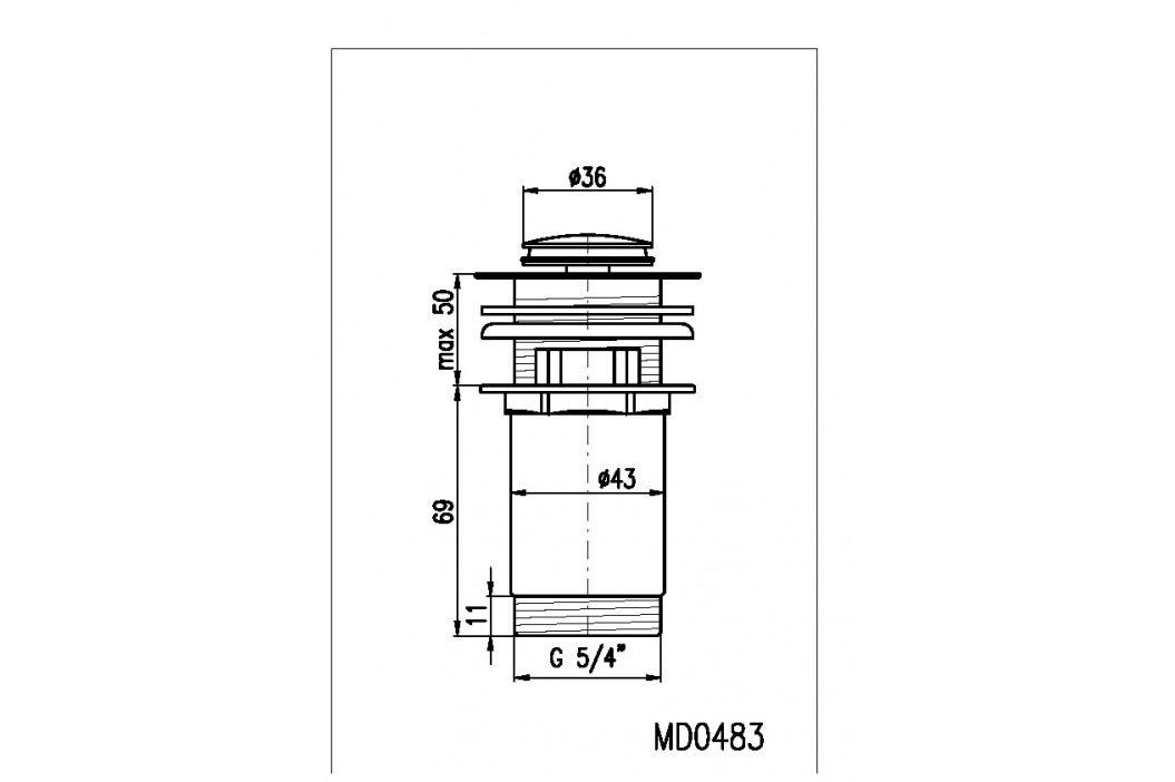 Výpusť umyvadlová CLICK-CLAK 5/4 MD0483 chrom