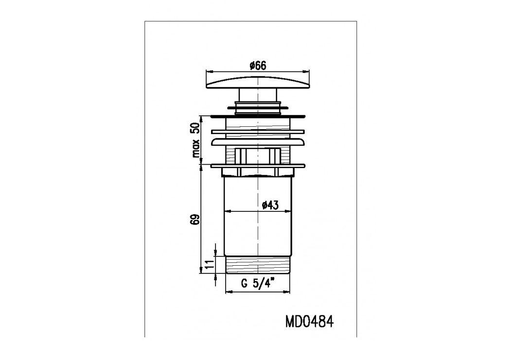 Výpusť umyvadlová CLICK-CLAK 5/4 MD0484 chrom