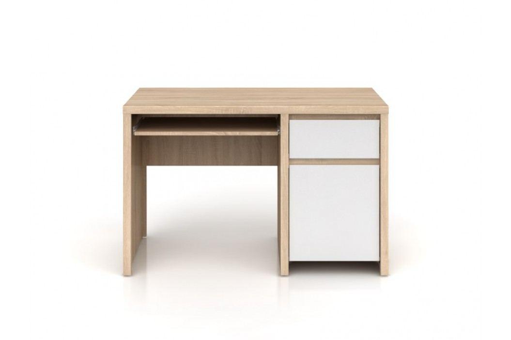 Psací stůl KASPIAN BIU1D1S/120 dub sonoma/bílý lesk