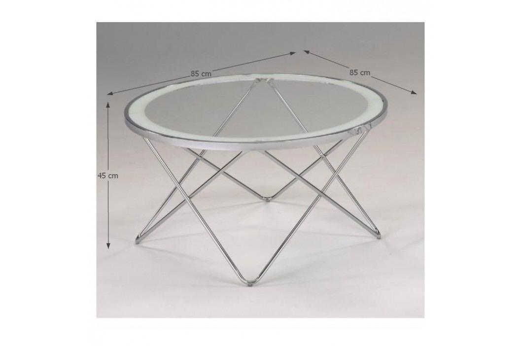 Kulatý skleněný konferenční stolek s hvězdicovou podstavou TK202